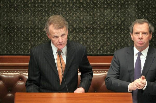 Illinois House Speaker Michael Madigan, left, and Senate President John Cullerton sponsored a proposed amendment that would require units of government to approve pension enhancements by a three-fifths vote instead of a simple majority.