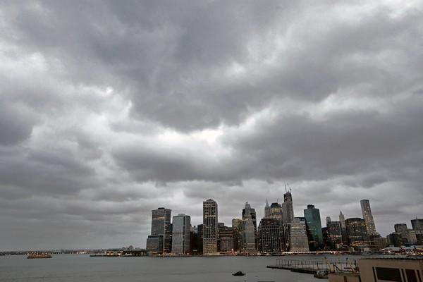Clouds close in over Manhattan as Hurricane Sandy approaches. Many residents in Lower Manhattan were under mandatory evacuation orders.