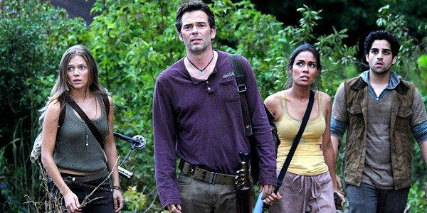 "Tracy Spiridakos as Charlie Matheson, Billy Burke as Miles Matheson, Daniella Alonso as Nora, and Paras Patel as Albert, in a scene from ""Revolution."""