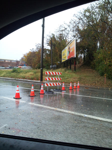 The intersection at Monument Street at Pulaski Highway was closed this morning.