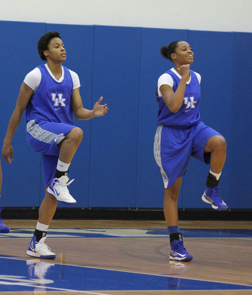 Bria Goss, left, and A'dia Mathies were two of the top players in the SEC last season and Goss says being picked to win the league this year puts no extra pressure on Kentucky.