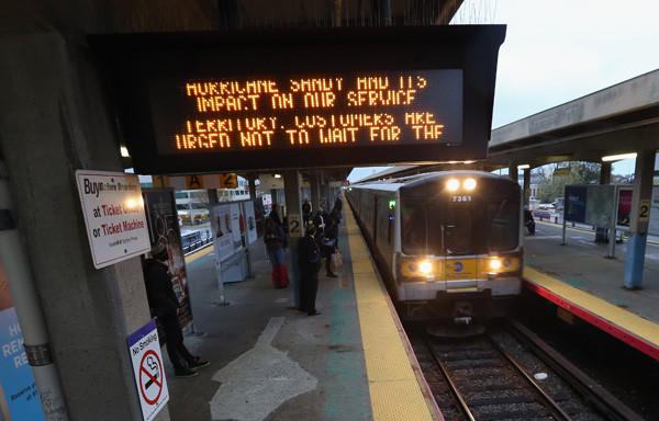 With Hurricane Sandy approaching, the Long Island Railroad announced the suspension of their service at 7pm on Sunday night in Hicksville, N.Y.