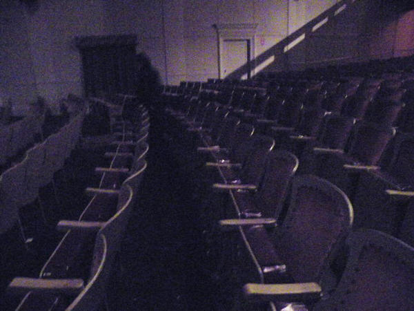 This photo, taken at the theater inside Mission Point Resort on Mackinac Island, captured the figure of a ghost. Or so Todd Clements believes. The tall, oblong shadow at the back of the room looks to him like a ghost standing among the theater sets, said Clements.