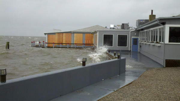 Half of dock and dine restaurant in Old Saybrook is now underwater