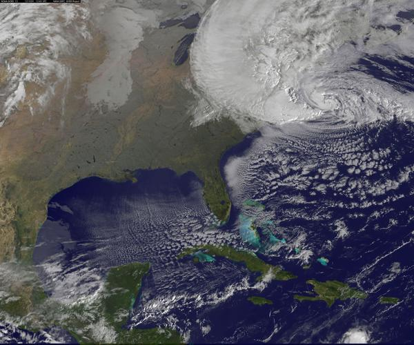 This image of Hurricane Sandy was taken by a National Oceanic and Atmospheric Administration satellite today, Monday, Oct. 29 at 9:10 a.m.
