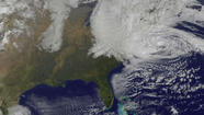 Satellite image shows Hurricane Sandy's massive size.