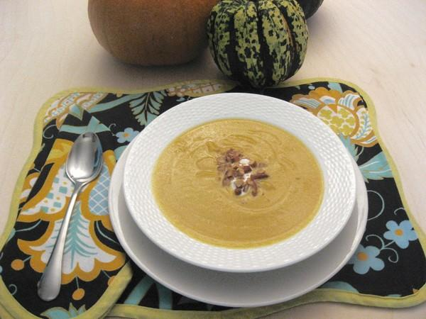 This butternut and sweet potato bisque is a good mix of squash and yams, giving the finished soup a beautiful orange color.