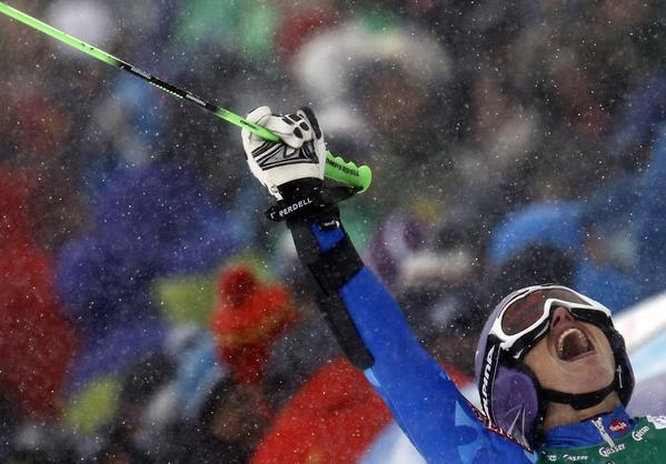 Tina Maze of Slovenia reacts after winning the World Cup Soelden Women's Giant Slalom race on the Rettenbach glacier in the Tyrolean ski resort of Soelden October 27, 2012.