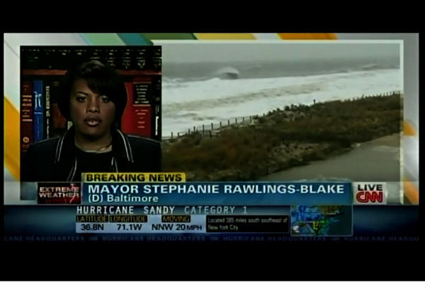 Baltimore Mayor Stephanie Rawlings-Blake on CNN talking about Hurricane Sandy