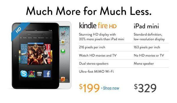 Amazon is using its home page to compare its 7-inch Kindle Fire HD tablet to Apple's iPad mini.