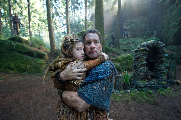 "Raeven Lee Hanan as Catkin and Tom Hanks as Zachry ""Cloud Atlas."""