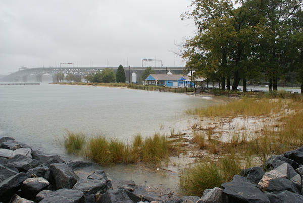 The beach at Gloucester Point is inundated at high tide about 10 a.m. on Monday, October 29, 2012, during Hurricane Sandy.
