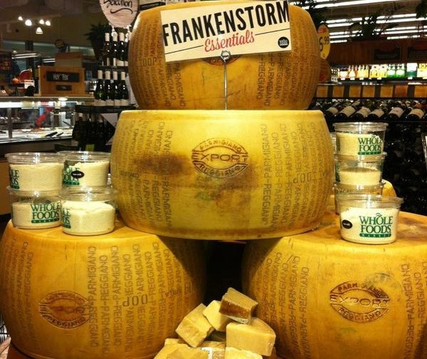 "A ""Frankenstorm Essentials"" display at a Whole Foods in Massachusetts."