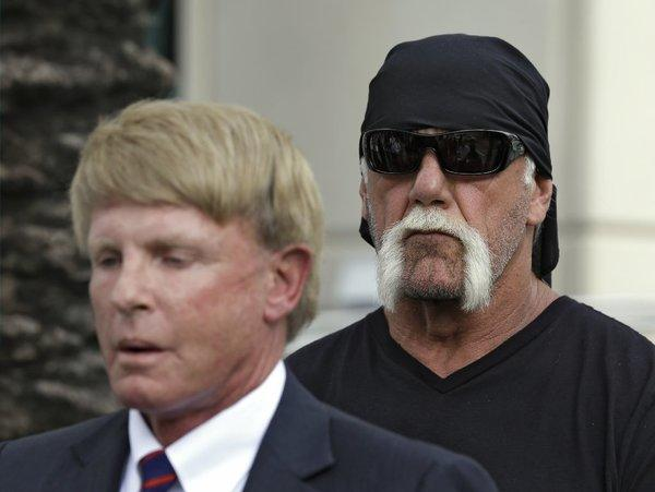 Attorney David Houston and pro wrestler Hulk Hogan at a news conference earlier this month.