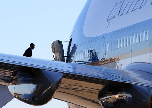 Photos of President Barack Obama's departure at Orlando International Airport and of President Bill Clinton's appearance at the University of Central Florida, Monday, October 29, 2012.