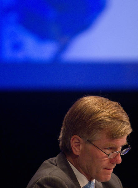 Virginia Gov. Bob McDonnell listens during a meeting of the Special Committee on Homeland Security and Public Safety during the National Governors Association Annual Meeting in Williamsburg on Saturday.