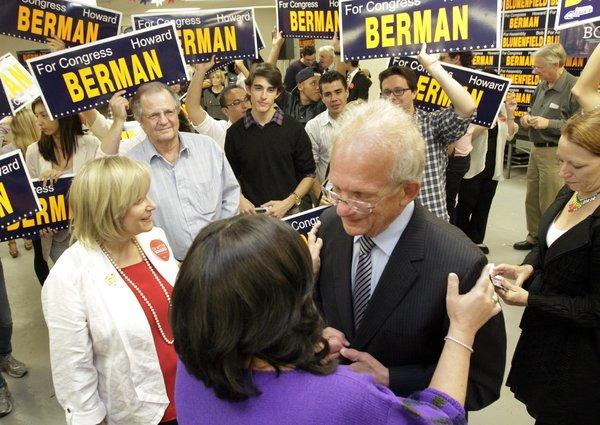 Democratic Rep. Howard Berman with his wife, Janis, is surrounded by volunteers, supporters and friends at his campaign headquarter in Encino.