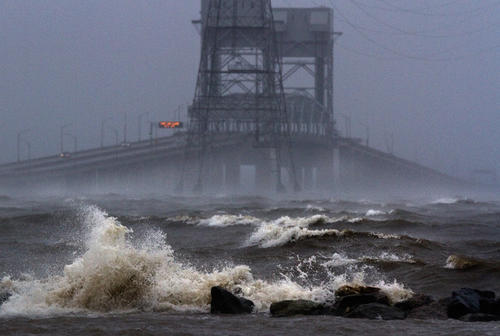 Hurricane Sandy coverage from Newport News.  The high winds and surf in the James River with the J.R. Bridge in back.