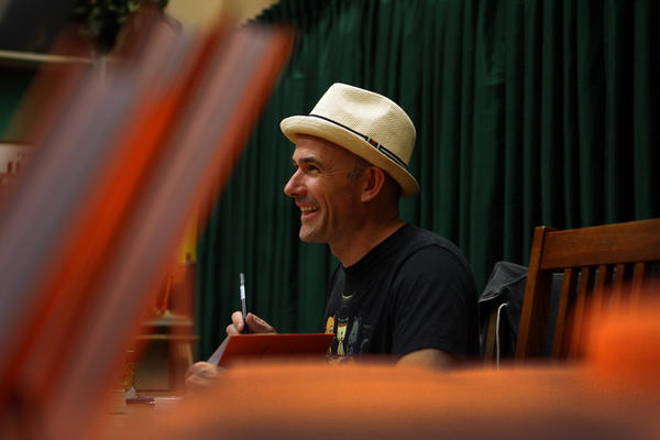 "Mark Z. Danielewski signs ""The 50 Year Sword."""