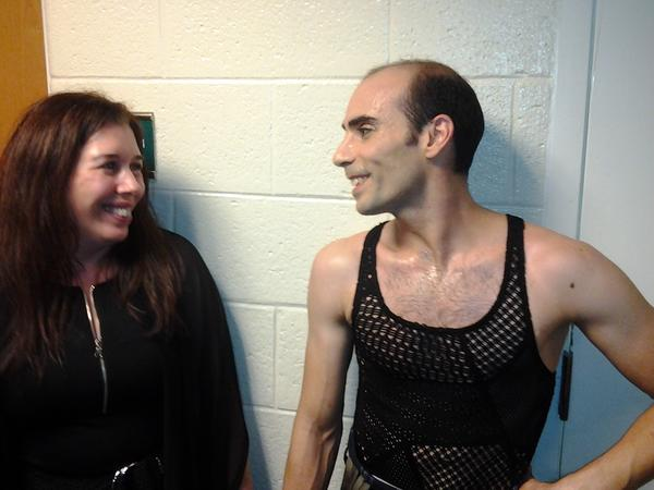 Ballet fan Darcy Santiago and principal dancer Renato Penteado backstage after the Miami City Ballet's performance at the Broward Center for the Performing Arts.
