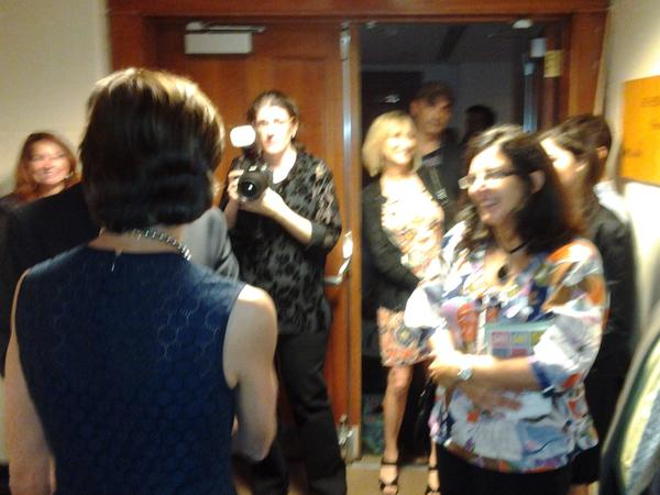 Lourdes Lopez greets fans and press after the performance Friday night at Broward Center for the Performing Arts