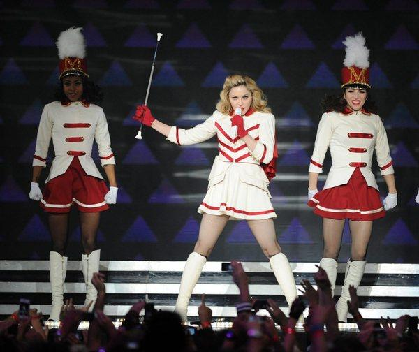 Madonna, pictured in Las Vegas at a stop on her MDNA tour, was booed onstage in New Orleans on Sunday for an endorsement of President Barack Obama.