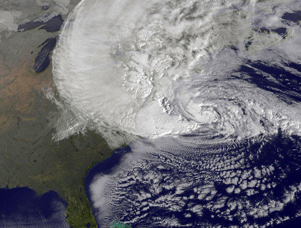 Satellite image provided by NASA shows Hurricane Sandy churning off the East Coast in the Atlantic Ocean.