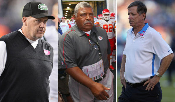 Coaches on the hot seat near the midway point of the season include the New York Jets' Rex Ryan, Kansas City Chiefs' Romeo Crennel and San Diego Chargers' Norv Turner.