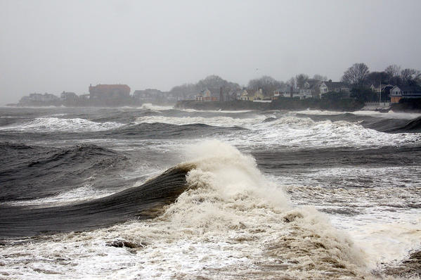 Hurricane Sandy churns up Long Island Sound at Knollwood Beach in Old Saybrook Monday afternoon.