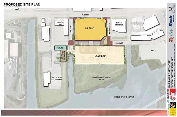 A early rendering of the site plan for the proposed Harrah's casino on Russell Street in Baltimore.