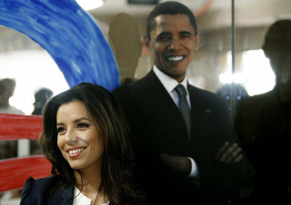 Eva Longoria recently showed her support for Obama by making appearances in Florida, including this one at an Obama campaign office in West Palm Beach.