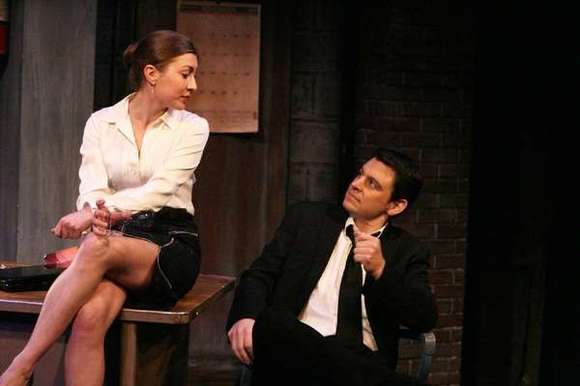 "Blythe Auffarth and Brian Ibsen in the Colony Theatre's recent production of ""Blame It on Beckett."""