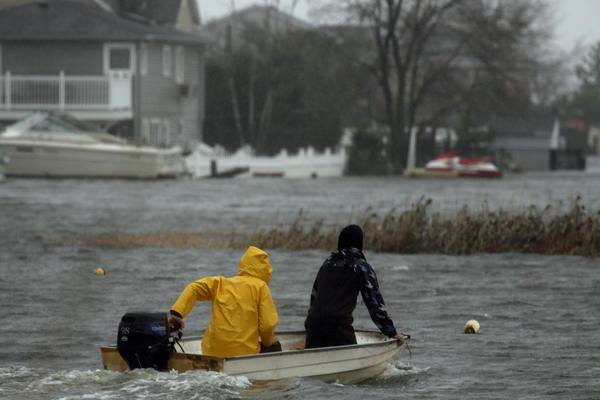 Hurricane Sandy causes flooding in West Babylon, N.Y., on the south shore of Long Island.