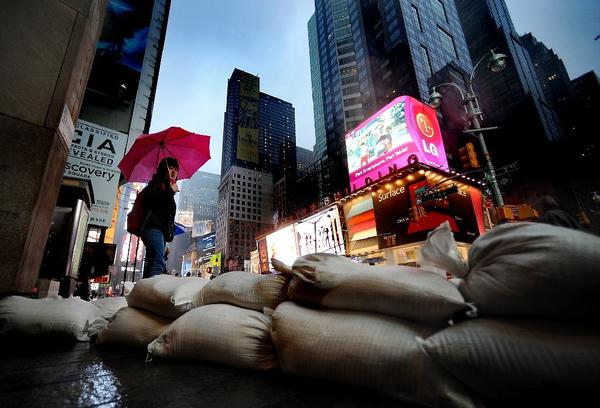 Sandbags are laid out around Times Square in New York City.