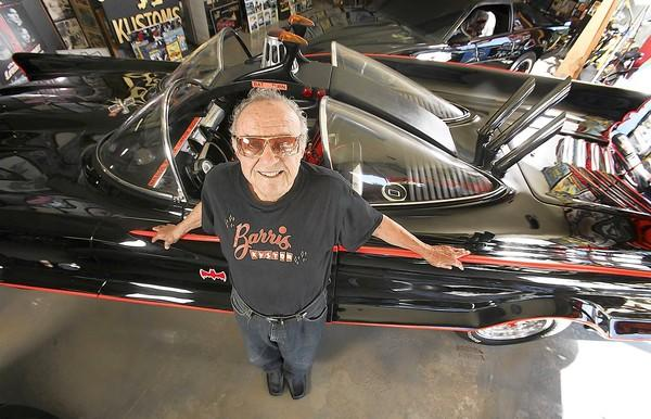 George Barris with the Batmobile he designed. Many hot rodders and customizers see their work as art and Barris as an old master.