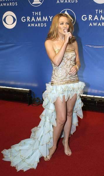 Kylie Minogue wears Givenchy Haute Couture to the 45th annual Grammy Awards in 2003.