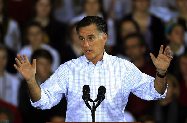 Republican presidential candidate Mitt Romney speaks at a campaign event at Avon Lake High School in Ohio.