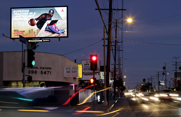 A digital billboard is seen on Lincoln Boulevard in Venice.