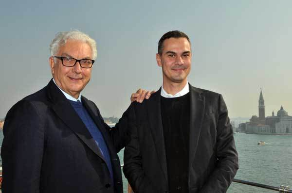 Venice Biennale President Paolo Baratta, left, with Massimiliano Gioni, director of the 55th exhibition.