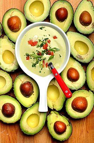 Creamy avocado gazpacho comes together in minutes.
