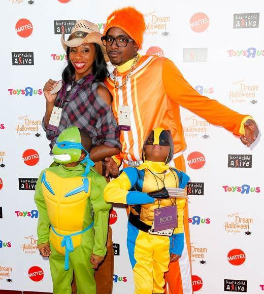 Celebrity Halloween costumes 2012: Olympic sprinter Lashinda Demus and family