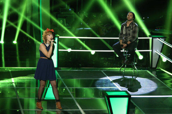 "Melanie Martinez and Sam James compete in the Knockout rounds on ""The Voice"""