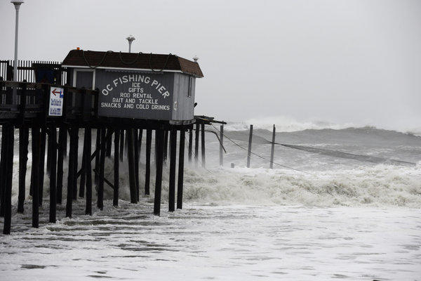 The storm surge that hit Ocean City, Md., on Monday was considered the worst since Hurricane Gloria struck the area in 1985. The Ocean City Fishing Pier took a beating.