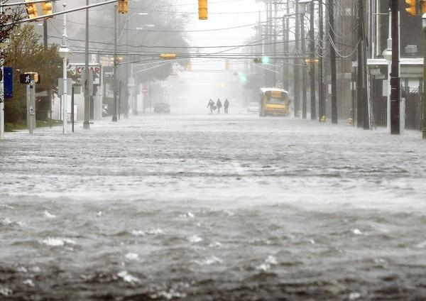 A flooded street in Atlantic City, N.J.