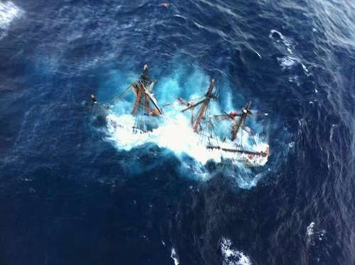 The HMS Bounty is shown submerged in the Atlantic Ocean during Hurricane Sandy approximately 90 miles southeast of Hatteras, North Carolina.