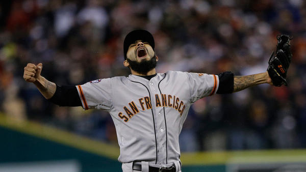 San Francisco Giants' Sergio Romo reacts after striking out Detroit Tigers' Miguel Cabrera in the 10th inning of Game 4 of baseball's World Series on Sunday in Detroit. The Giants won the game 4-3 to win the World Series.