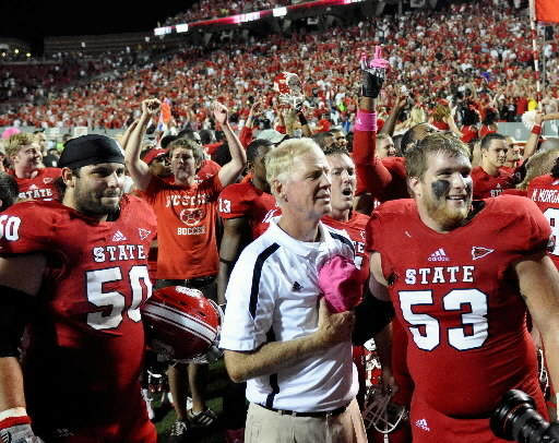 Tom O'Brien and N.C. State celebrate win over Florida State