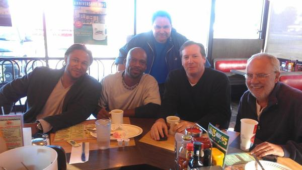 L-R, Omar Kelly, Chris Perkins, Mike Berardino (standing), Dave Hyde and Greg Stoda