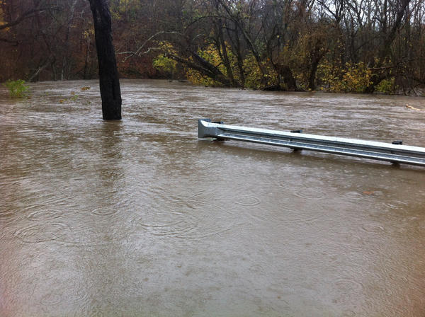Antietam Creek was flooded Tuesday morning at Burnside Bridge Road near Antietam National Battlefield. The creek was expected to crest four feet above flood stage.