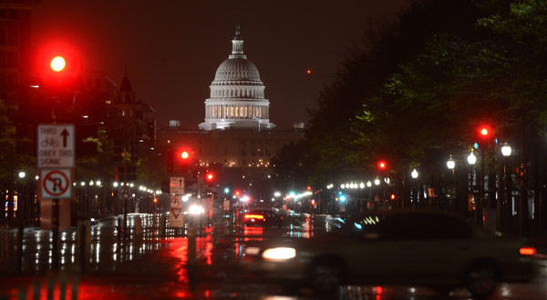 The U.S. Capitol in predawn light in the wake of Hurricane Sandy in Washington, D.C.